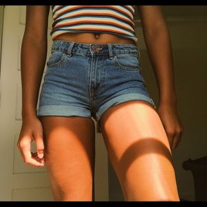 mid to high rise h&m shorts